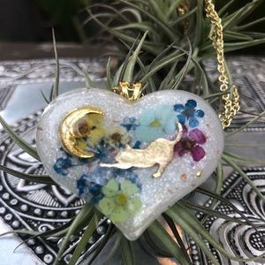 Resin pastel heart and moon handmade gold necklace